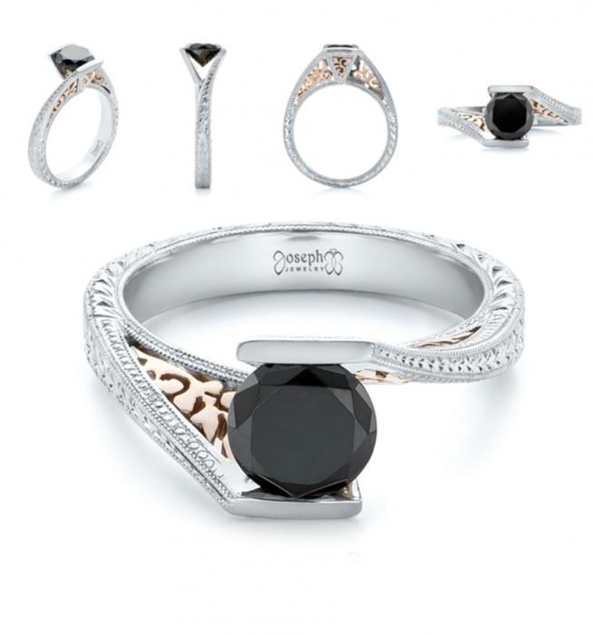 انگشتر الماس سیاه کد G108