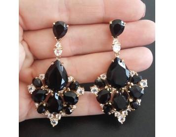 گوشواره طلا الماس مشکی کد G239