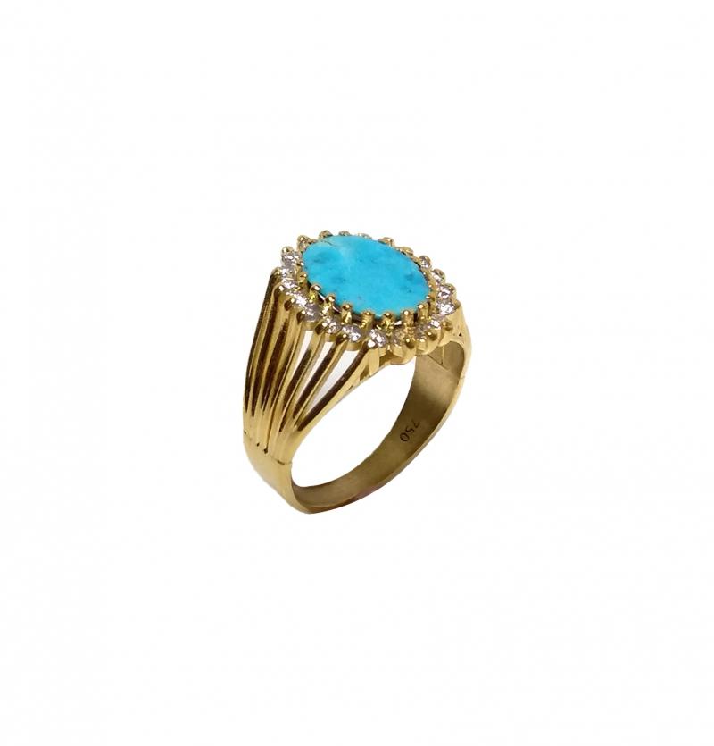 انگشتر جواهری فیروزه کد 106