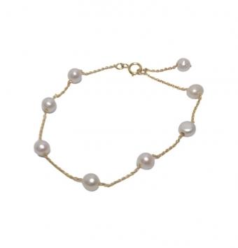 دستبند مروارید و زنجیر طلا کد 142