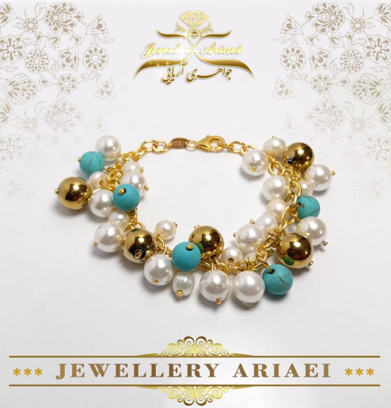 دستبند مروارید و مهره طلایی کد 174