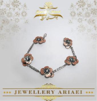دستبند نقره گل