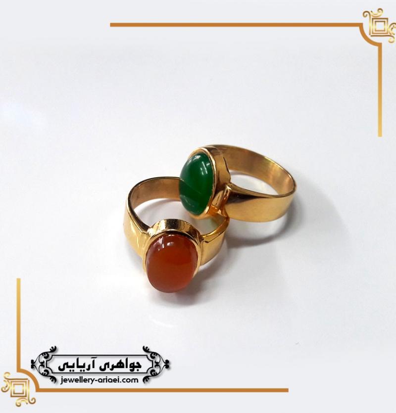انگشتر طلا عقیق سبز و قرمز کد 232