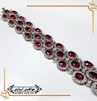 دستبند طلا جواهر یاقوت قرمز کد 240
