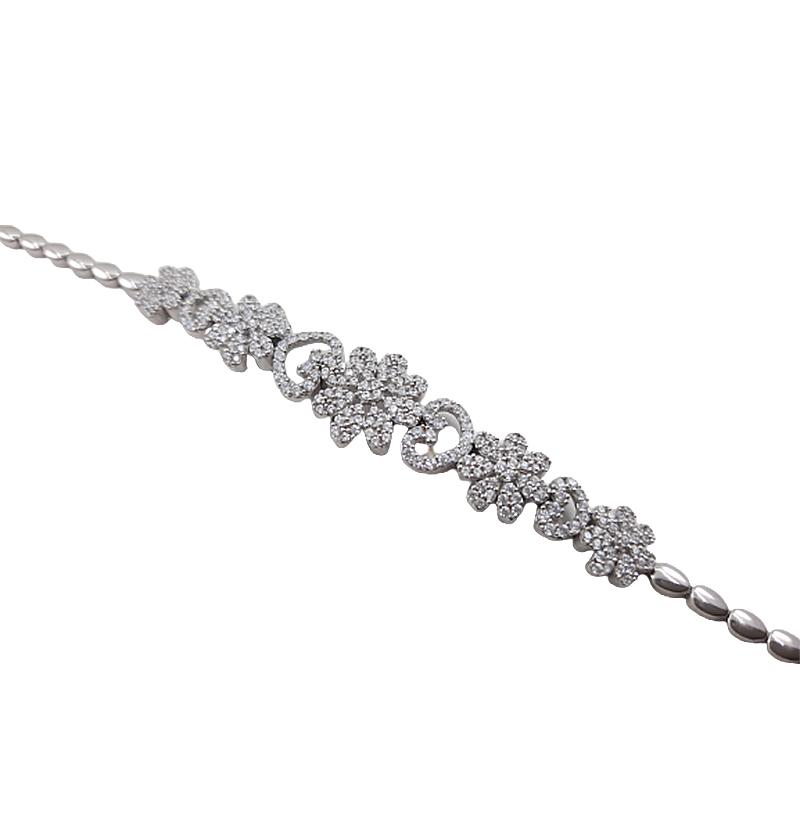 دستبند نقره مدل گل