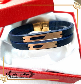 دستبند مردانه چرم کد 262