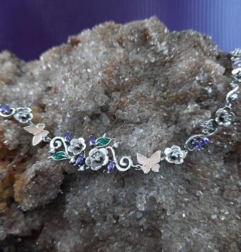 دستبند نقره گل رنگی