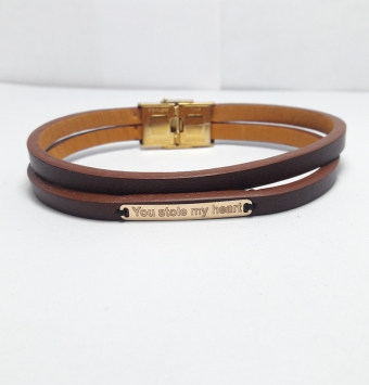 دستبند طلا چرمی مردانه